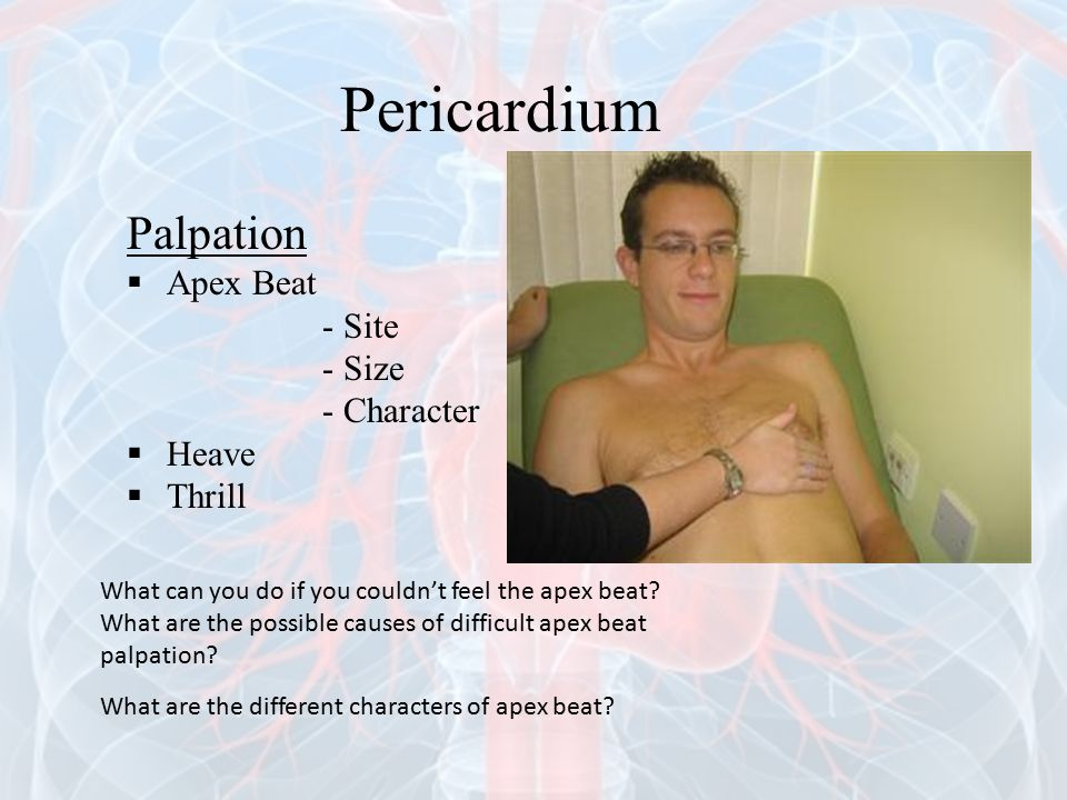 Pericardium Palpation Apex Beat - Site - Size - Character Heave Thrill