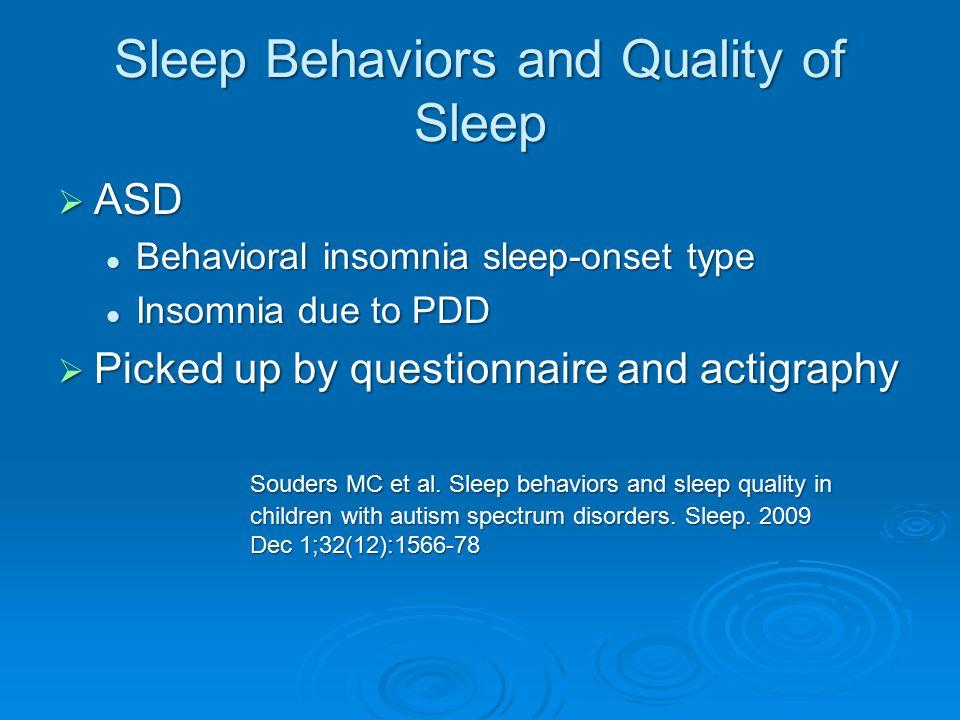 Sleep Behaviors and Quality of Sleep