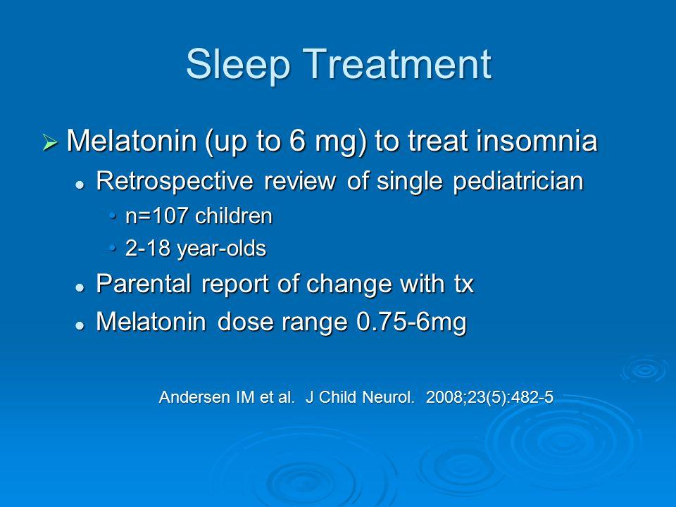 Sleep Treatment Melatonin (up to 6 mg) to treat insomnia