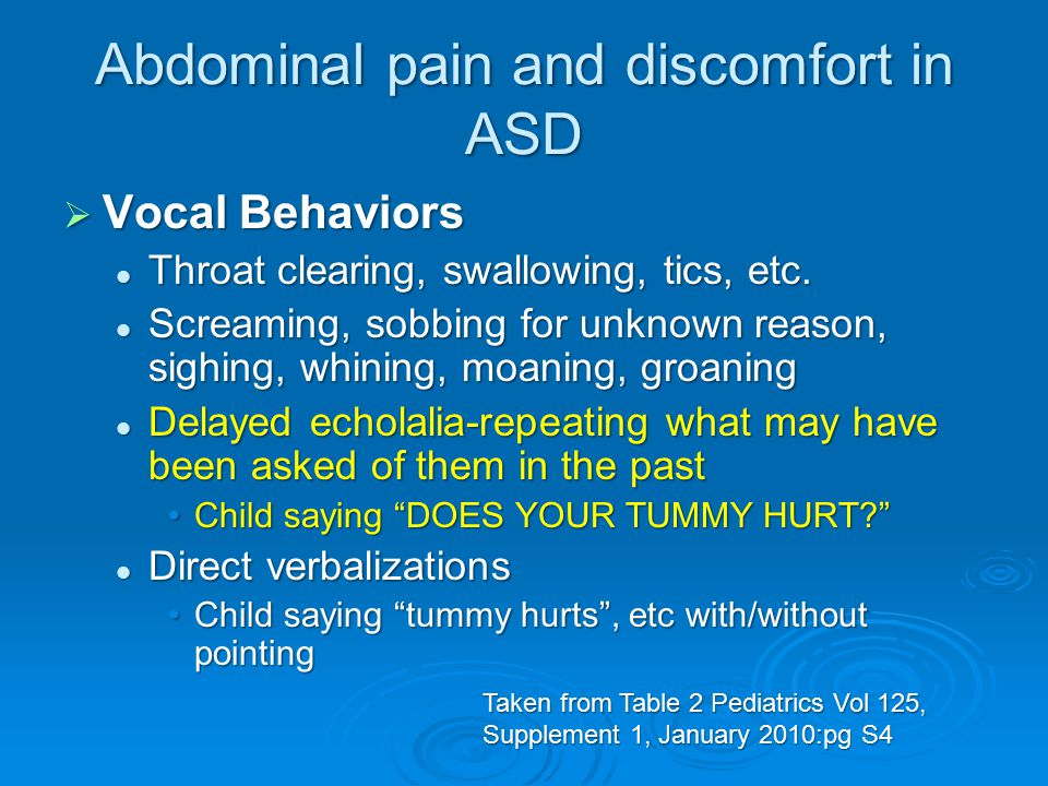 Abdominal pain and discomfort in ASD