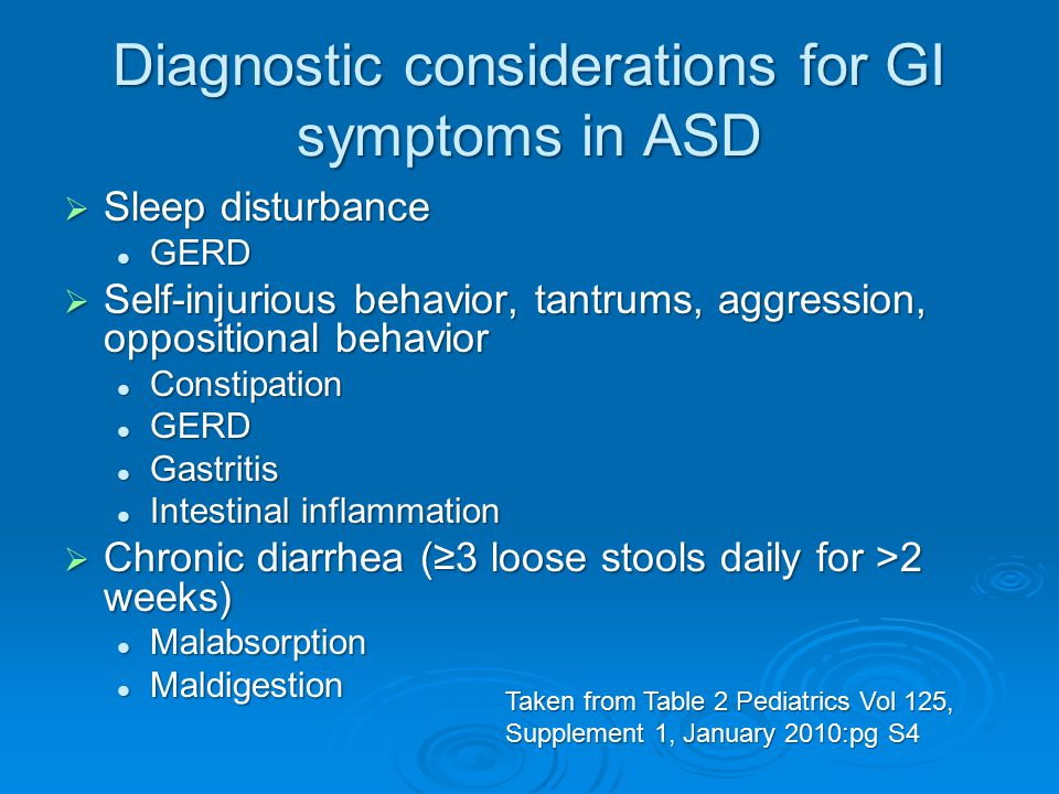 Diagnostic considerations for GI symptoms in ASD