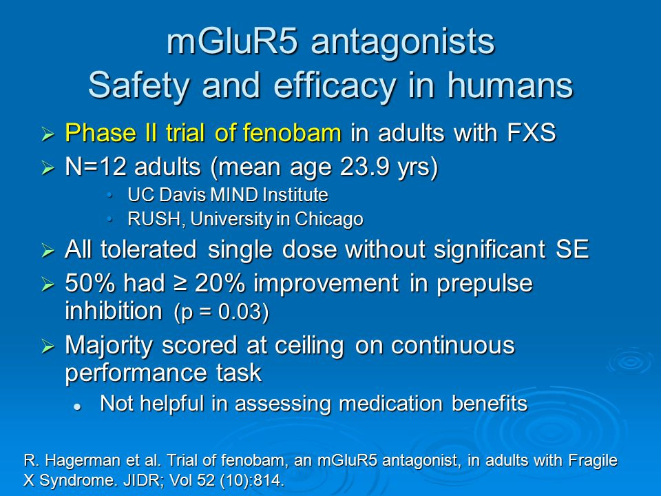 mGluR5 antagonists Safety and efficacy in humans