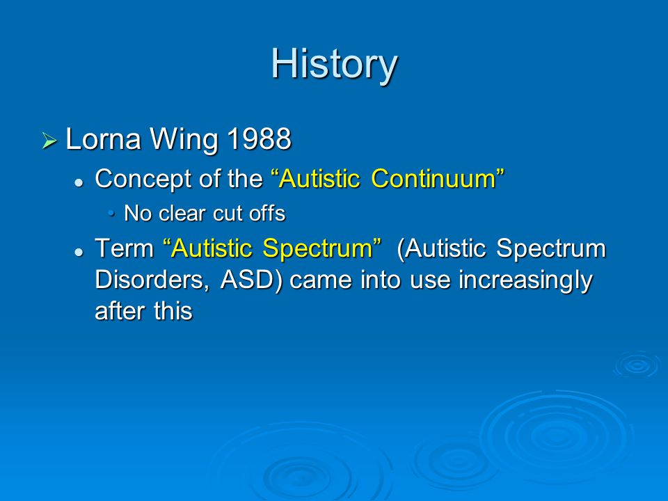 History Lorna Wing 1988 Concept of the Autistic Continuum