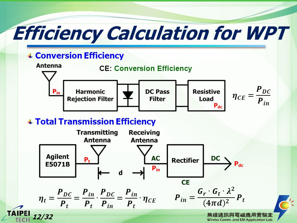 Efficiency Calculation for WPT