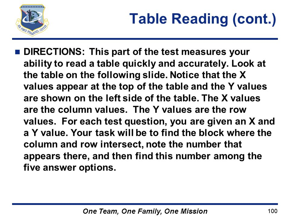 Table Reading (cont.)