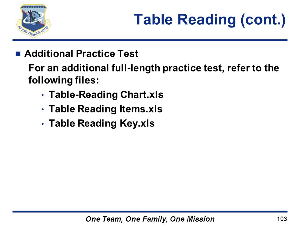 Table Reading (cont.) Additional Practice Test