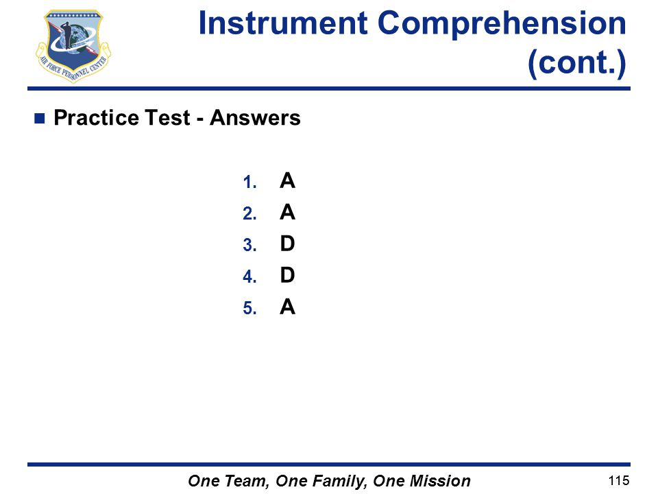 Instrument Comprehension (cont.)