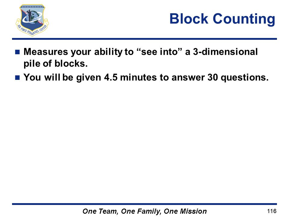 Block Counting Measures your ability to see into a 3-dimensional pile of blocks.