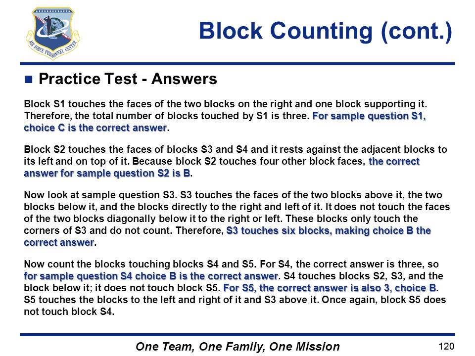Block Counting (cont.) Practice Test - Answers