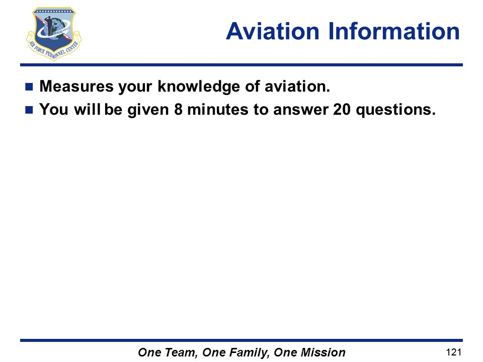 Aviation Information Measures your knowledge of aviation.