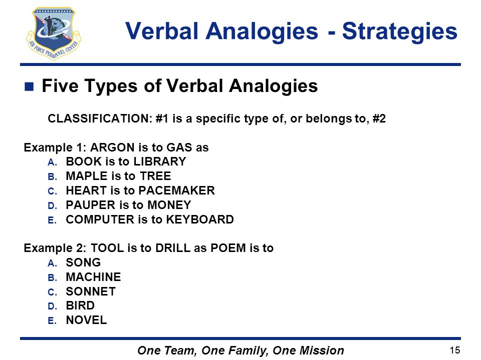 Verbal Analogies - Strategies