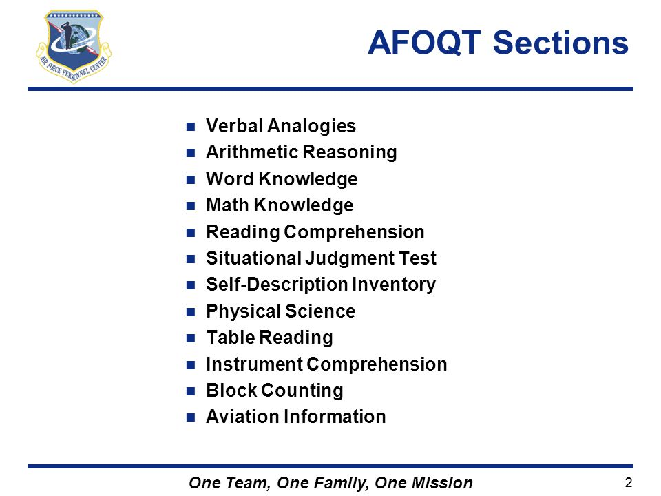 AFOQT Sections Verbal Analogies Arithmetic Reasoning Word Knowledge