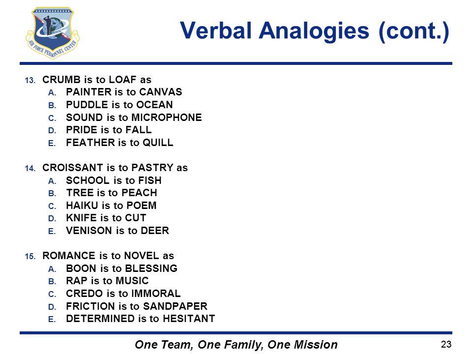 Verbal Analogies (cont.)