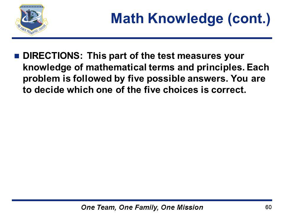 Math Knowledge (cont.)