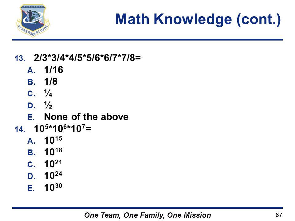 Math Knowledge (cont.) 2/3*3/4*4/5*5/6*6/7*7/8= 1/16 1/8 ¼ ½