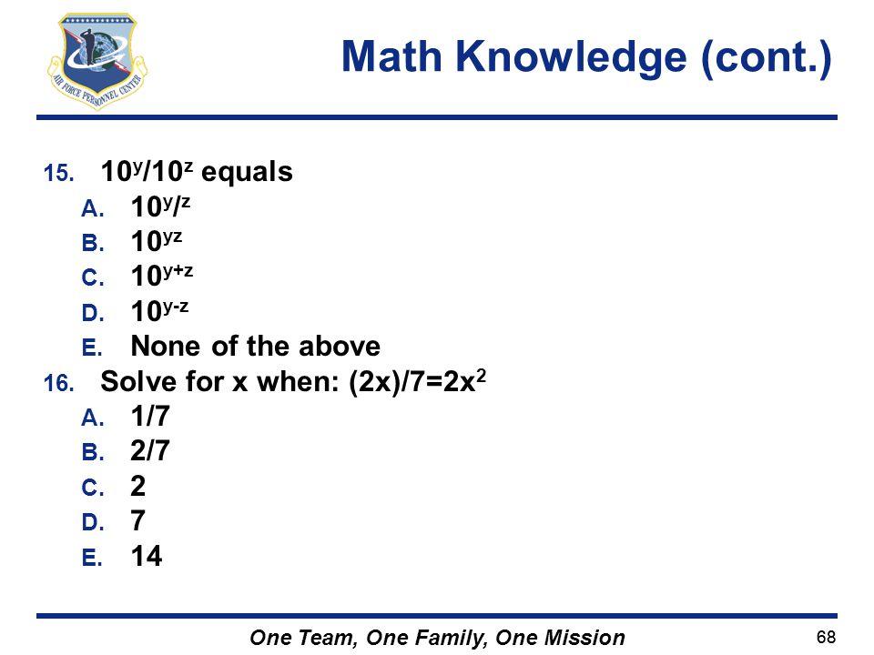 Math Knowledge (cont.) 10y/10z equals 10y/z 10yz 10y+z 10y-z