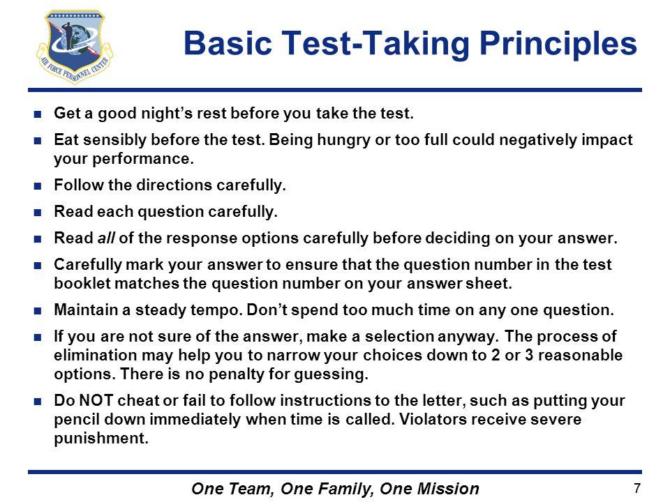 Basic Test-Taking Principles