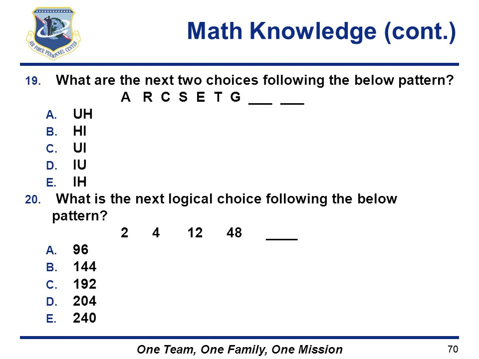 Math Knowledge (cont.) What are the next two choices following the below pattern A R C S E T G ___ ___.