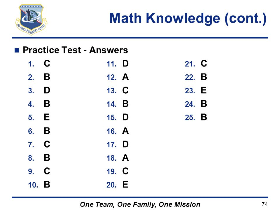 Math Knowledge (cont.) Practice Test - Answers C B A D E