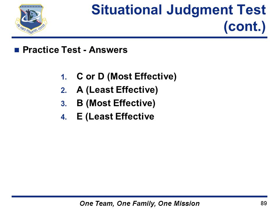 Situational Judgment Test (cont.)
