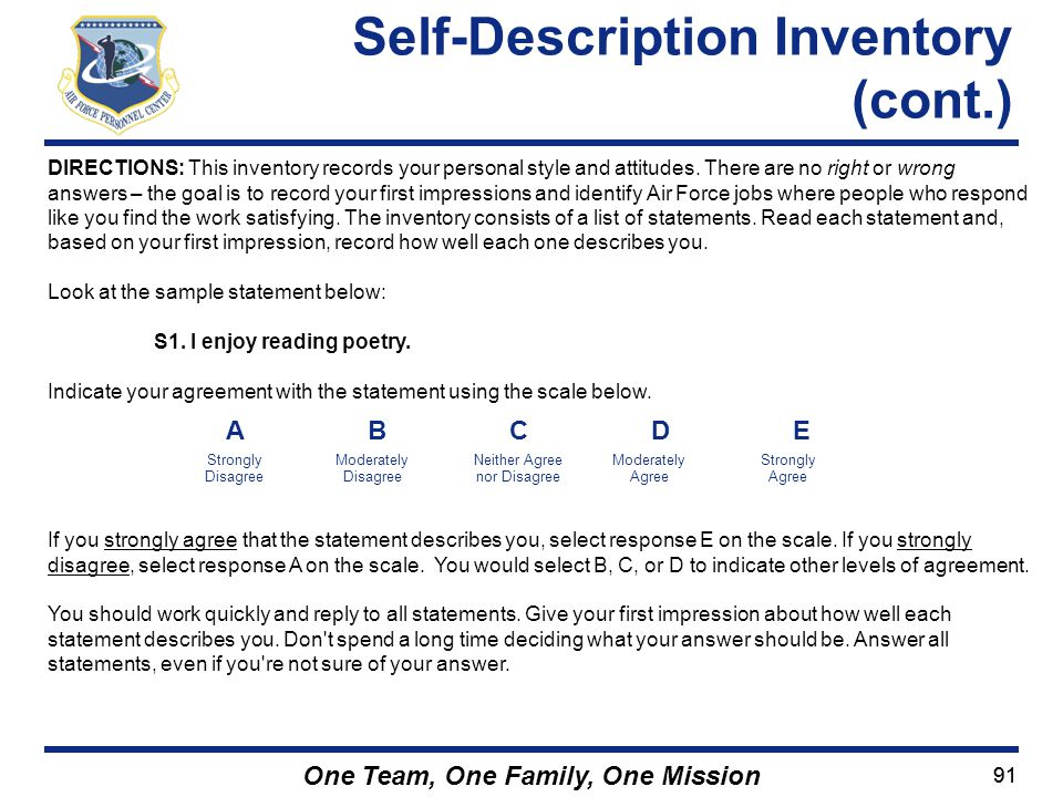 Self-Description Inventory (cont.)