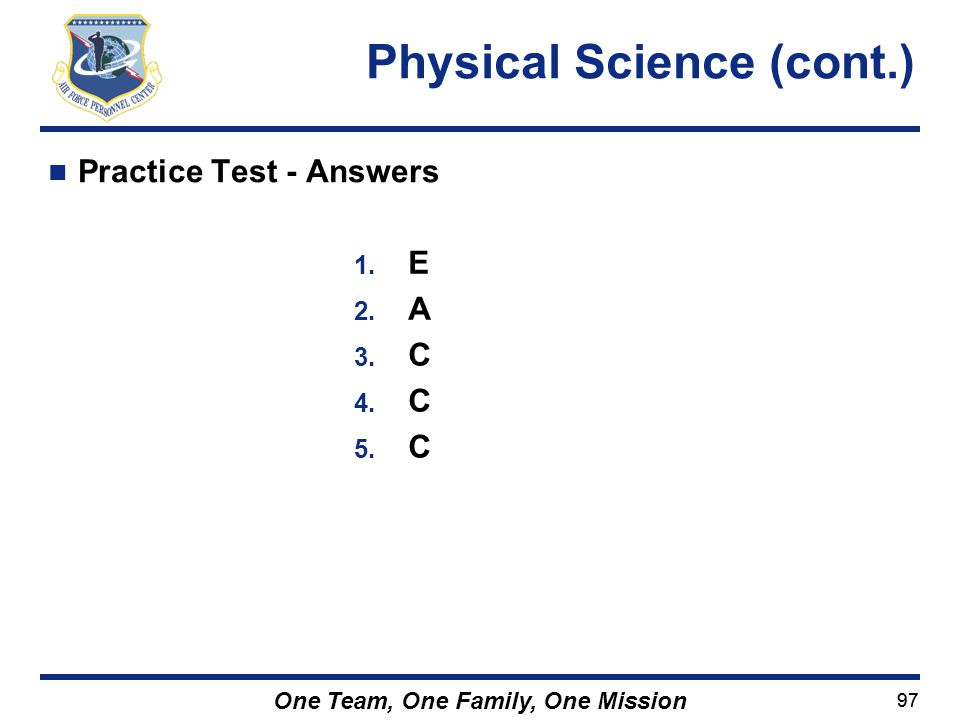 Physical Science (cont.)
