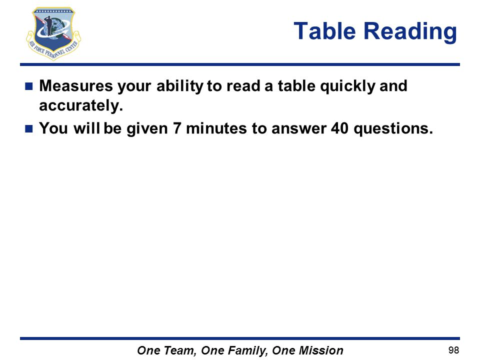 Table Reading Measures your ability to read a table quickly and accurately.