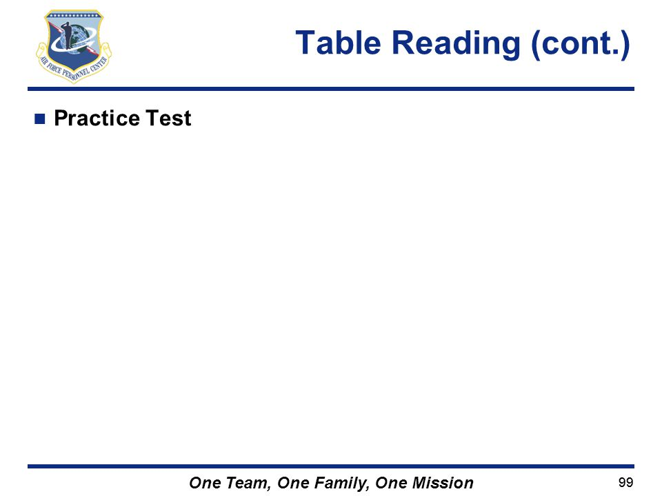 Table Reading (cont.) Practice Test