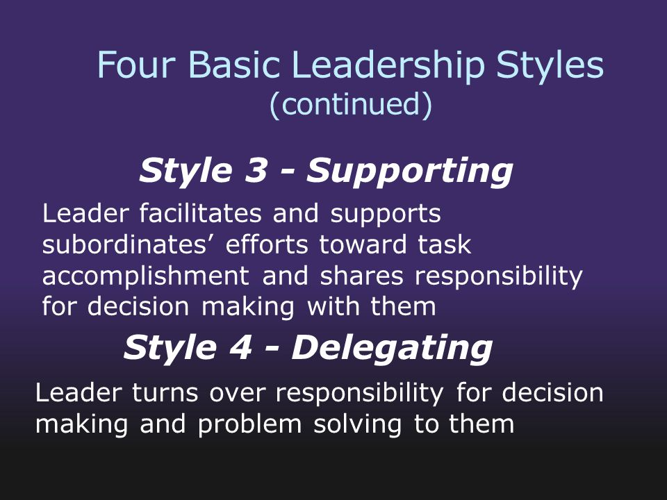 Four Basic Leadership Styles (continued)