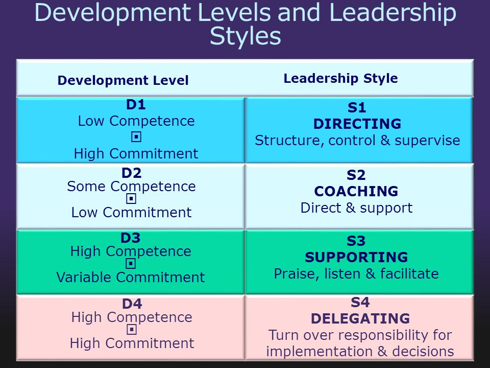 Development Levels and Leadership Styles