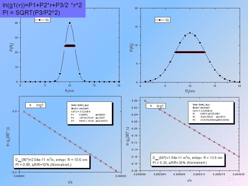 ln(g1(t))=P1+P2*t+P3/2 *t^2