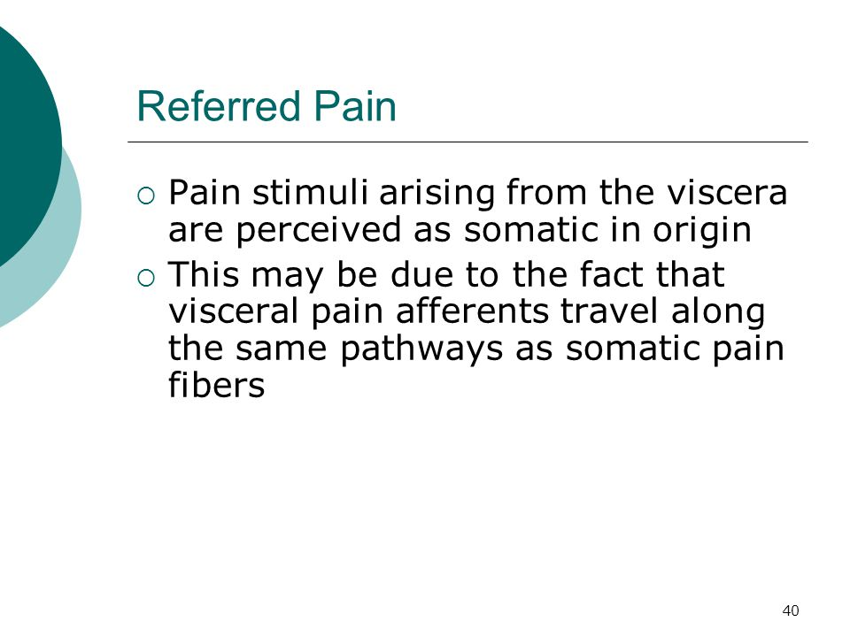 Referred Pain Pain stimuli arising from the viscera are perceived as somatic in origin.