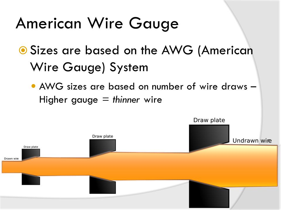 American Wire Gauge Sizes are based on the AWG (American Wire Gauge) System.