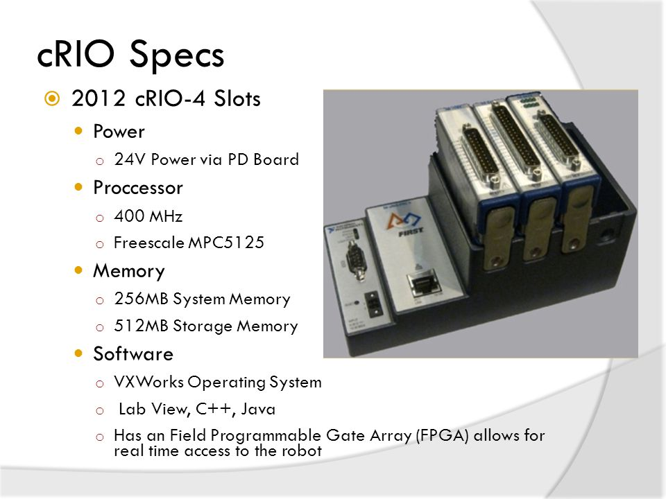 cRIO Specs 2012 cRIO-4 Slots Power Proccessor Memory Software