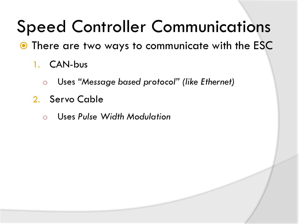 Speed Controller Communications