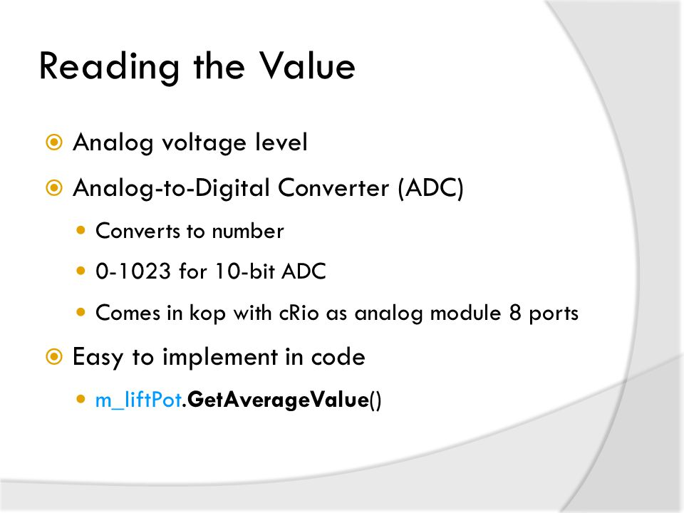 Reading the Value Analog voltage level