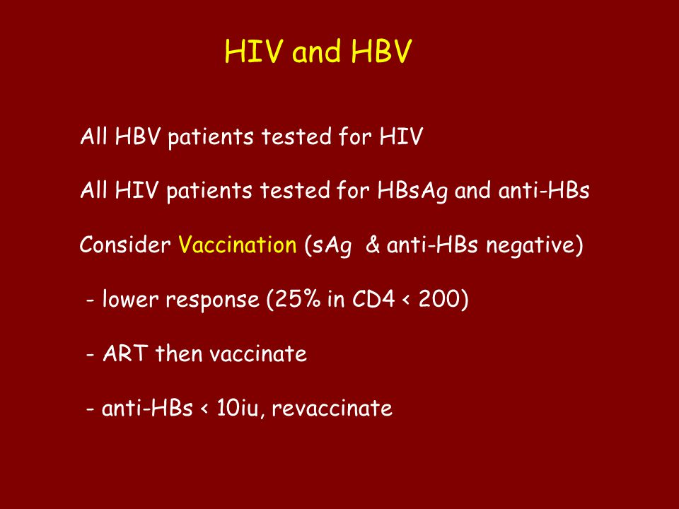 HIV and HBV All HBV patients tested for HIV