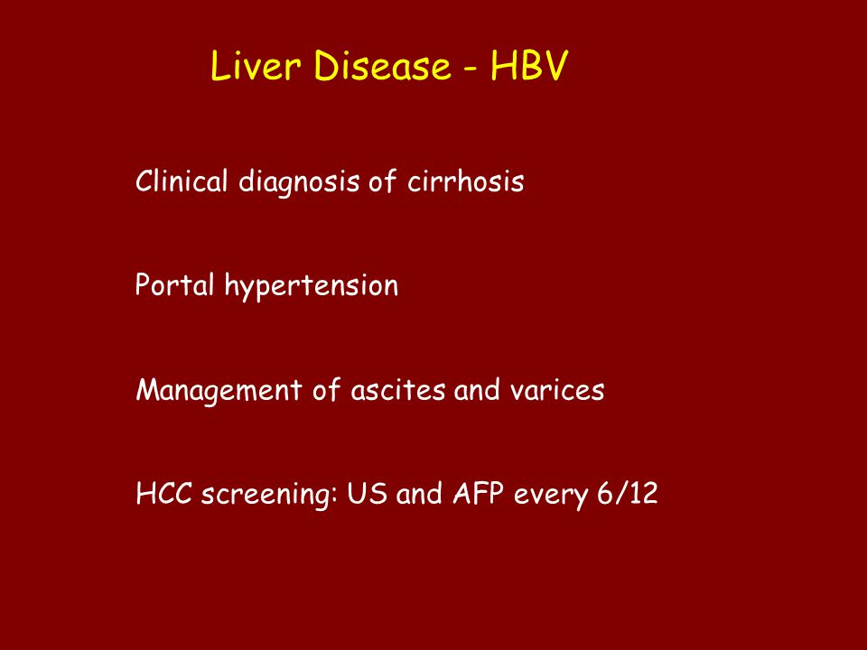Liver Disease - HBV Clinical diagnosis of cirrhosis
