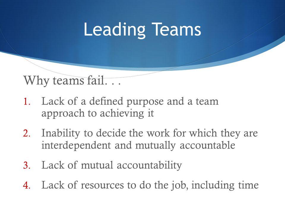 Leading Teams Why teams fail. . .