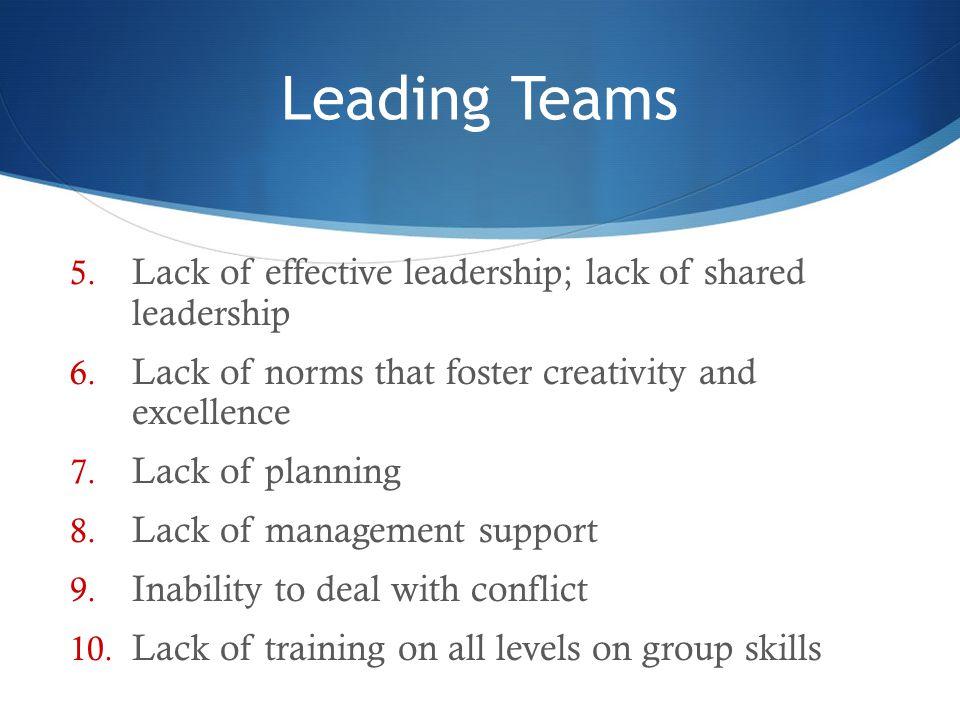Leading Teams Lack of effective leadership; lack of shared leadership