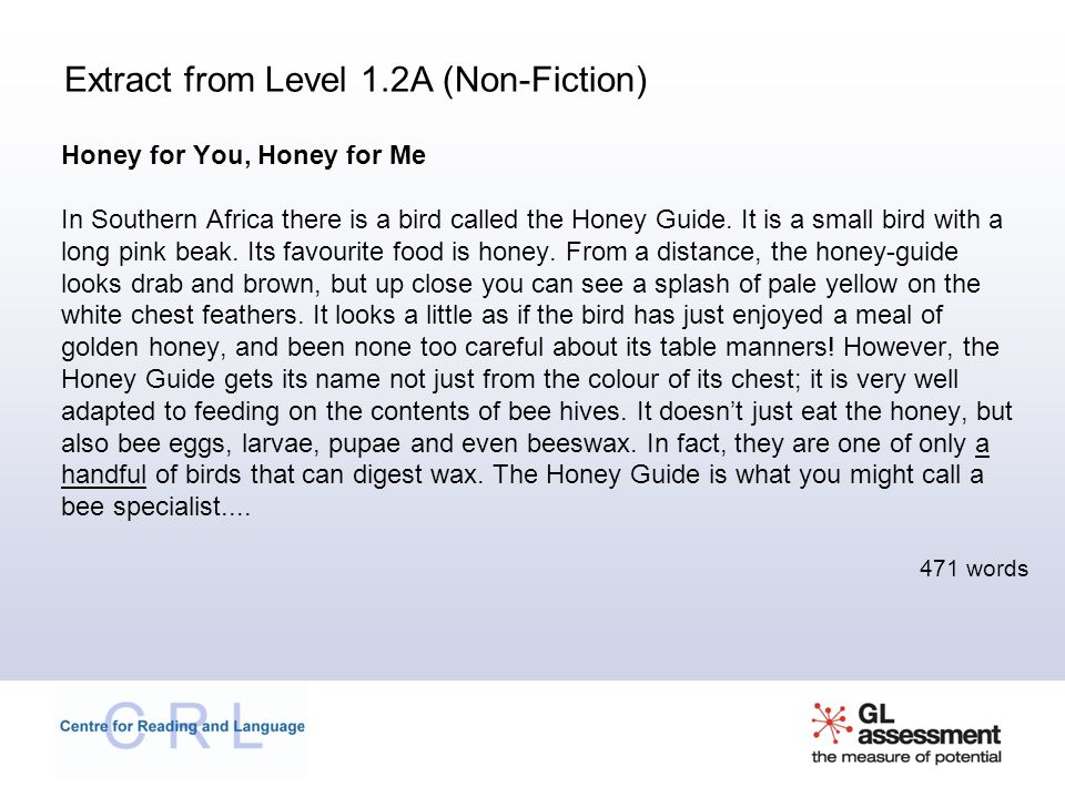 Extract from Level 1.2A (Non-Fiction)