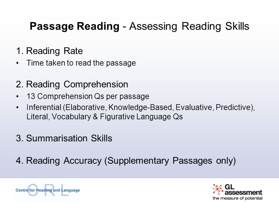Passage Reading - Assessing Reading Skills