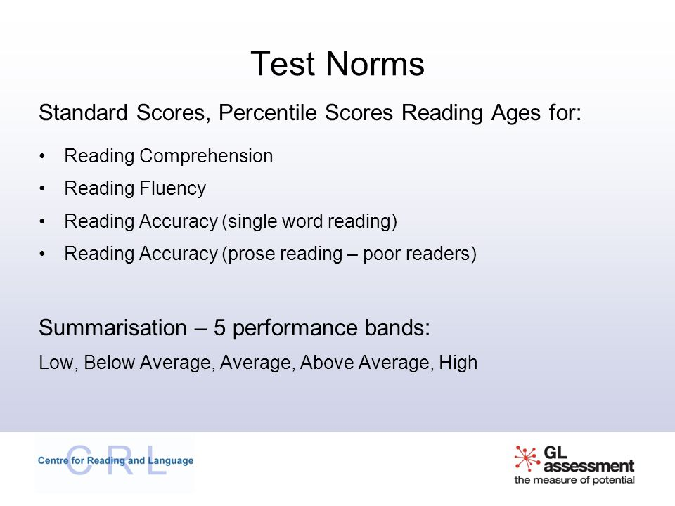 Test Norms Standard Scores, Percentile Scores Reading Ages for: