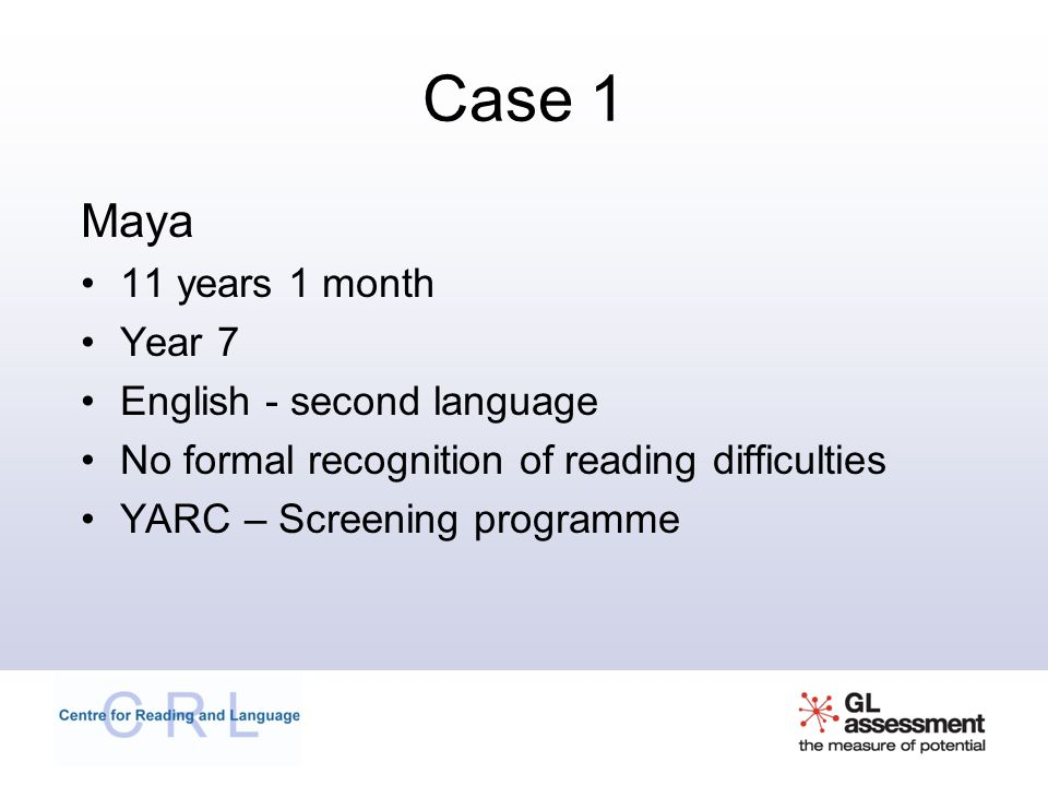 Case 1 Maya 11 years 1 month Year 7 English - second language