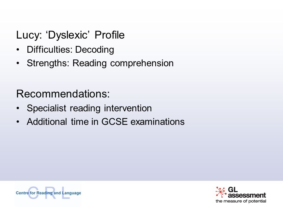 Lucy: 'Dyslexic' Profile