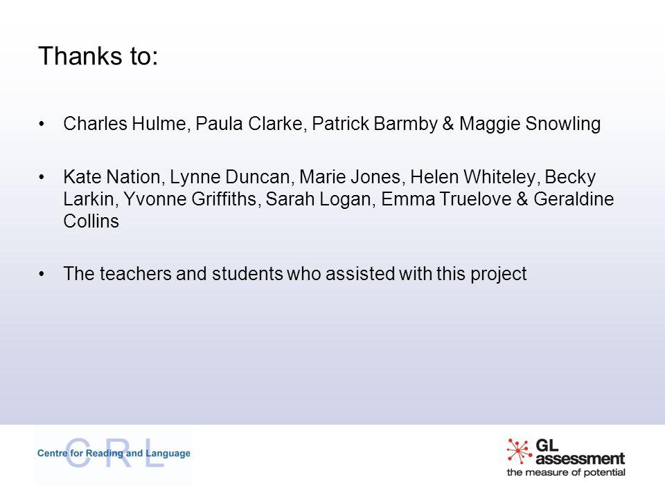 Thanks to: Charles Hulme, Paula Clarke, Patrick Barmby & Maggie Snowling.