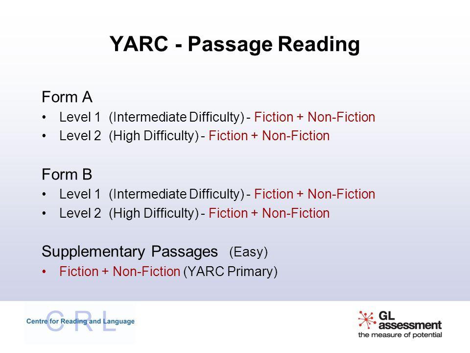 YARC - Passage Reading Form A Form B Supplementary Passages (Easy)