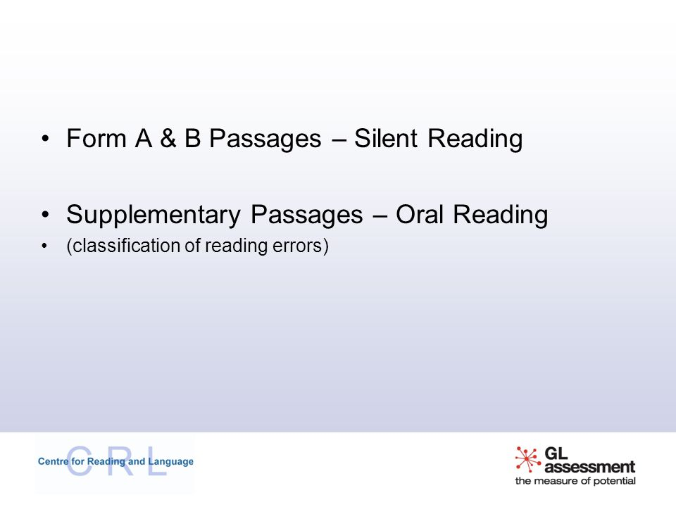 Form A & B Passages – Silent Reading