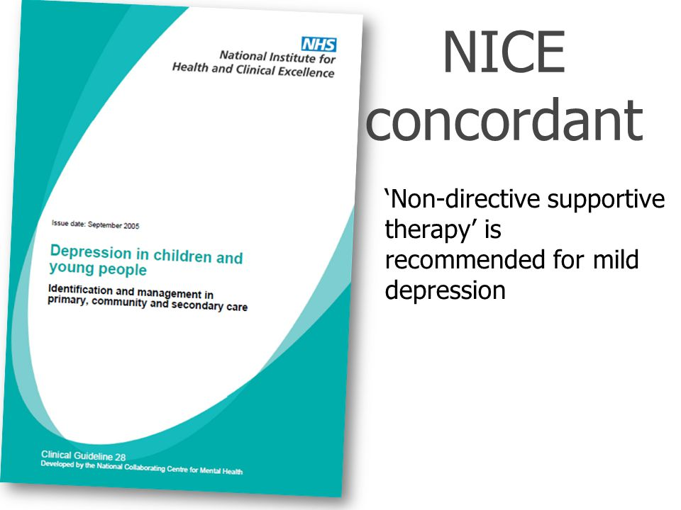NICE concordant 'Non-directive supportive therapy' is recommended for mild depression