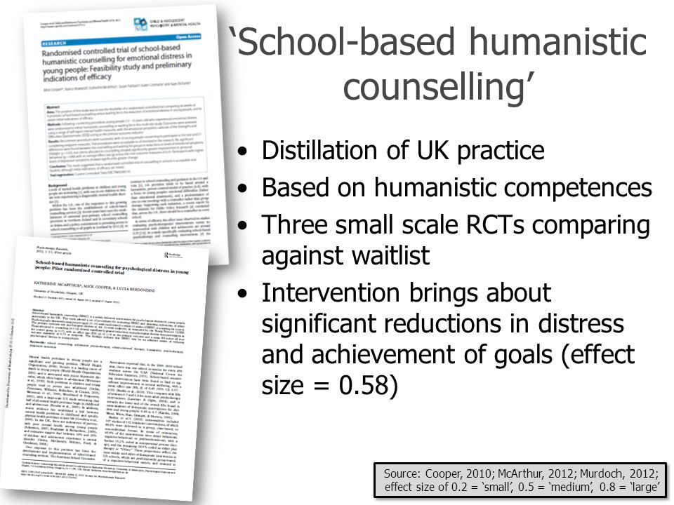 'School-based humanistic counselling'